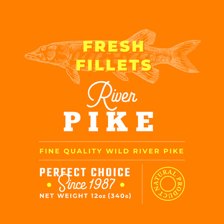 Fresh Fillets Premium Quality Label . Abstract Vector Fish Packaging Design Layout. Retro Typography with Borders and Hand Drawn Pike Silhouette Background