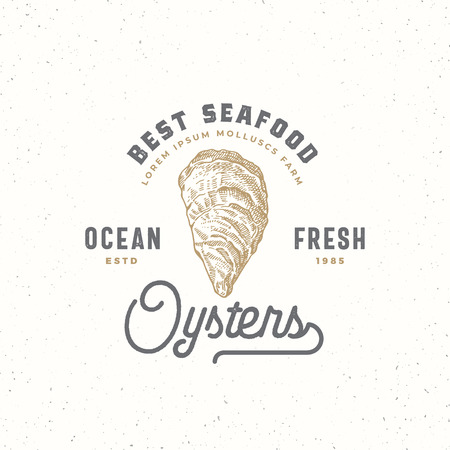 Ocean fresh oysters abstract sign