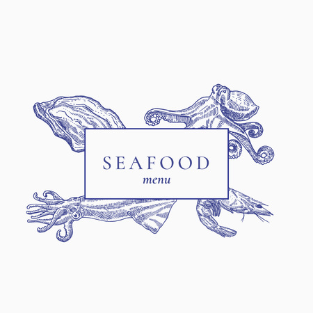 Premium Quality Seafood Menu Abstract Vector Sign, Emblem or Cover Page. Hand Drawn Oyster, Octopus, Shrimp and Squid with a Frame and Retro Typography. Ilustração