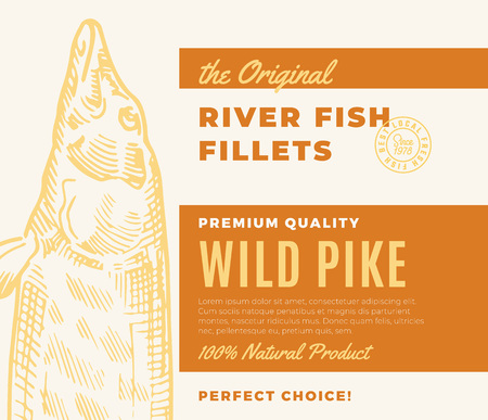 Premium Quality Fish Fillets. Abstract Vector Fish Packaging Design or Label. Modern Typography and Hand Drawn Pike Silhouette Background Layout Illustration