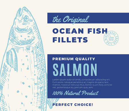 Premium Quality Fish Fillets. Abstract Vector Fish Packaging Design or Label. Modern Typography and Hand Drawn Salmon Silhouette Background Layout Illustration