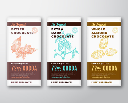 The Original Finest Chocolate Abstract Vector Packaging Design Label. Modern Typography and Hand Drawn Cocoa Branch with Leaves and Bean and Almond Nuts Sketch Silhouette Background Layout.