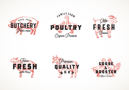 Premium Quality Retro Cattle and Poultry Vector  Templates Collection. Hand Drawn Vintage Domestic Animals and Birds Sketches with Classy Typography, Pig, Cow, Chicken, etc. Isolated Labels Set Ilustração