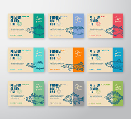Premium Quality Fish Labels Collection. Abstract Vector Packaging Design or Label. Modern Typography and Hand Drawn Fish Silhouettes Background Layouts with Soft Shadows.