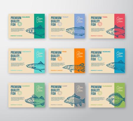 Premium kwaliteit visetiketten collectie. Abstract vector verpakkingsontwerp of label. Moderne typografie en handgetekende vis silhouetten achtergrondlay-outs met zachte schaduwen.