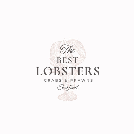 The Best Lobsters, Crabs and Prawns Abstract Vector Sign, Symbol or Logo Template. Elegant Crayfish Sillhouette with Classy Retro Typography. Vintage Luxury Emblem. Illustration