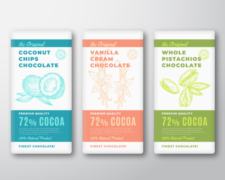 The Original Finest Cocoa Chocolate Bar Abstract Vector Packaging Design Labels Set. Typography and Coconuts, Vanilla Flower and Pistachio Nuts Sketch Silhouette Background Layouts.
