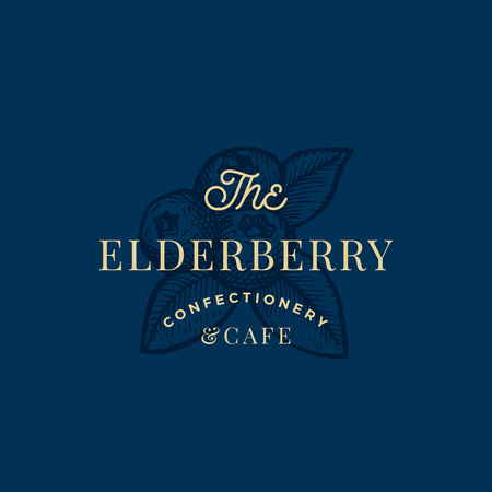 The Elderberry Confactionary and Cafe Abstract Vector Sign, Symbol or Logo Template. Three Berries with Leafs Sketch Sillhouette with Elegant Retro Typography. Vintage Luxury Emblem.