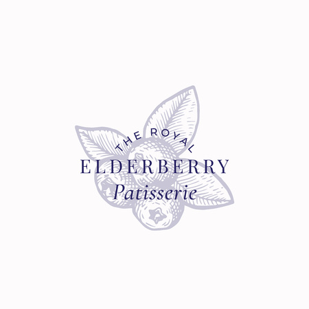 The Royal Elderberry Patisserie Abstract Vector Sign, Symbol or Logo Template. Three Berries with Leafs Sketch Sillhouette with Elegant Retro Typography. Vintage Luxury Emblem.