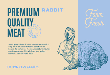 Premium Quality Rabbit. Abstract Vector Meat Packaging Design or Label. Modern Typography and Hand Drawn Rabbit Sketch Silhouette Background Layout. 矢量图像