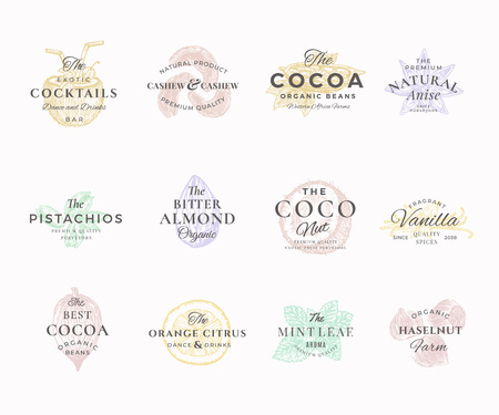 Premium Qualituy Nuts, Fruits and Spices Elegant Labels Set. Abstract Vector Signs, Symbols or Logo Templates. Hand Drawn Food Sketches with Retro Typography. Vintage Luxury Emblems.  イラスト・ベクター素材