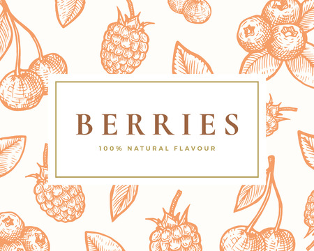 Hand Drawn Berries Illustration Card. Abstract Vector Cherries, Elderberry Sketch Background with Classy Retro Typography.