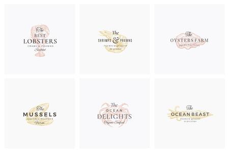 Set di segni, simboli o modelli di logo di vettore astratto di frutti di mare premium. Schizzi di gamberi, cozze, ostriche, granchi e calamari disegnati a mano eleganti con una tipografia retrò di classe. Emblemi di lusso vintage.