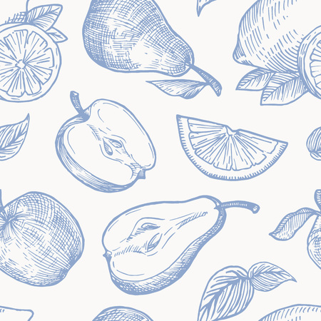 Hand Drawn Autumn Fruits Harvest Vector Seamless Background Pattern. Oranges, Lemon, Apples and Pears Sketches Card or Cover Template.