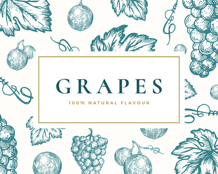 Hand Drawn Grapes Illustration Card. Abstract Vector Grape Bunch and Leaves Sketch Background with Classy Retro Typography. Isolated. Vetores