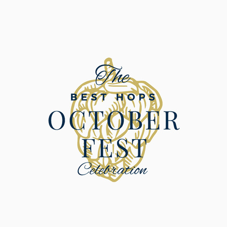 Best Hops Octoberfest Celebration Abstract Vector Sign, Symbol or Logo Template. Hand Drawn Hop with Classic Typography. Vintage Beer Emblem or Label.