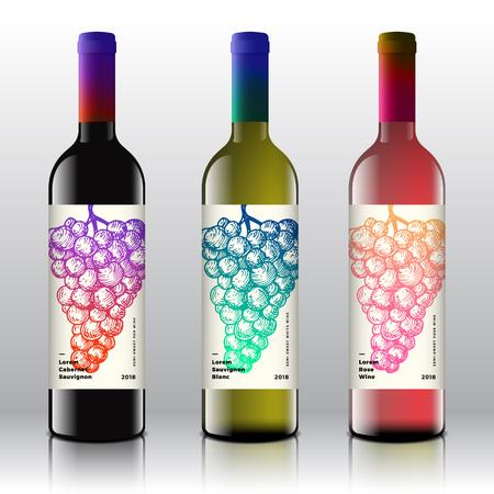 Etichette di vino rosso, bianco e rosa di qualità premium impostate sulle bottiglie di vettore realistico. Design pulito e moderno a gradiente con grappolo d'uva retrò disegnato a mano ed elegante tipografia minimale.