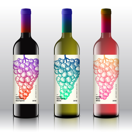 Premium Quality Red, White and Pink Wine Labels Set on the Realistic Vector Bottles. Clean and Modern Gradient Design with Hand Drawn Retro Grapes Bunch and Stylish Minimal Typography.