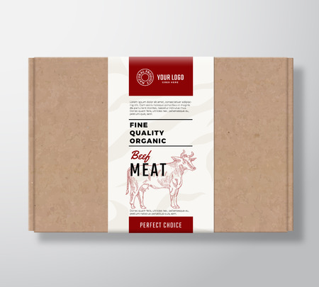 Fine Quality Organic Beef Craft Cardboard Box. Abstract Vector Meat Paper Container with Label Cover. Packaging Design. Modern Typography and Hand Drawn Cow Silhouette Background Layout. Isolated.