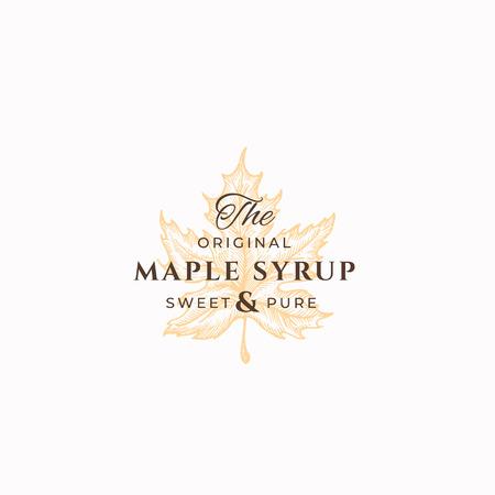 Originele Maple Syrup Abstract Vector teken, symbool of Logo sjabloon. Maple Leaf Sillhouette-schets met elegante retro typografie. Vintage luxe embleem. Logo
