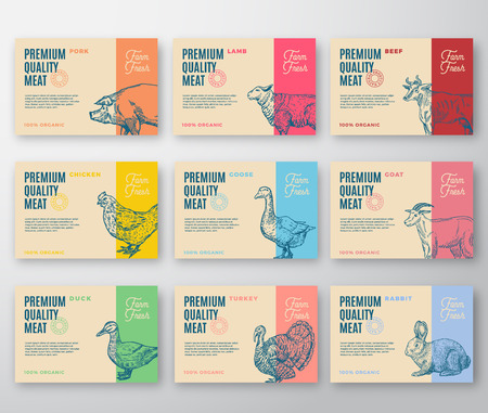 Premium Quality Meat and Poultry Labels Bigger Set. Abstract Vector Labels Packaging Design. Modern Typography and Hand Drawn Animals Silhouette Background Layouts. Isolated. Standard-Bild - 111875695