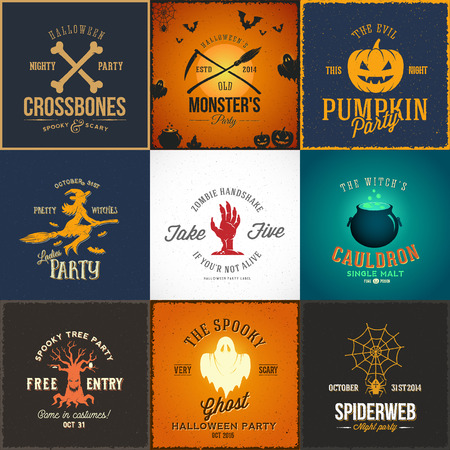 Vintage Halloween Party Vector Cards, Labels or Logos Set. Pumpkin, Ghost, Skull, Bones, Bats and Other Symbols with Retro Typography
