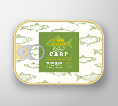 Canned Fish Label Template. Abstract Vector Fish Aluminium Container with Label Cover. Packaging Design. Modern Typography and Hand Drawn Carp Silhouette Background Layout. Isolated.