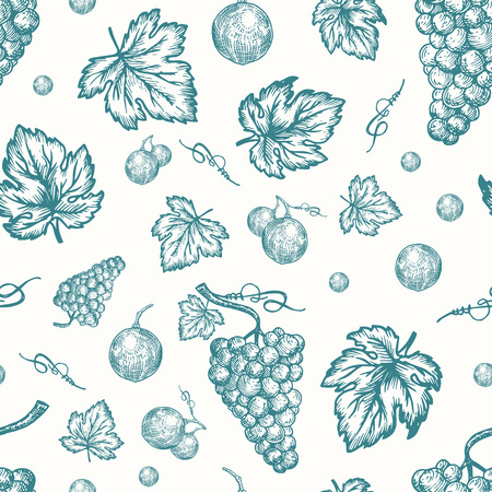 Hand Drawn Autumn Grapes Harvest Vector Seamless Background Pattern. Grape Berries, Brunch and Leaves Sketches Card or Cover Template. Vetores
