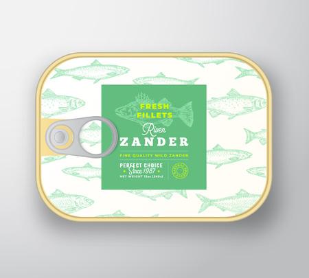 Fischetikettenvorlage in Dosen. Abstrakter Vektorfisch-Aluminiumbehälter mit Etikettenabdeckung. Verpackungsdesign. Moderne Typografie und handgezeichnetes Zander-Silhouette-Hintergrundlayout. Isoliert. Vektorgrafik