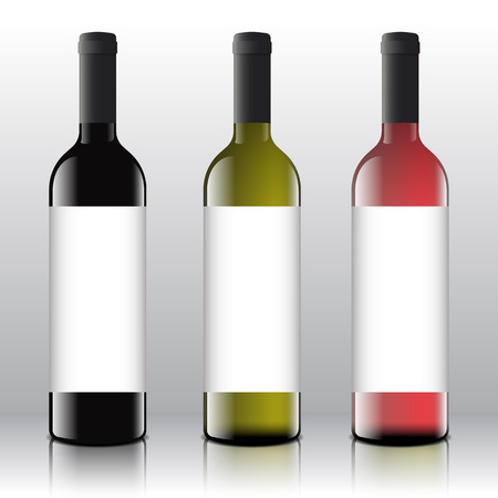 Premium Quality Red, White and Pink Wine Blank Labels Set on the Realistic Vector Bottles. Clean and Modern Mock Up or Design Template.