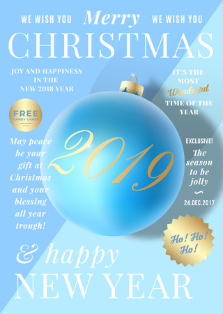 Pastel Colors Gentle Christmas Greeting Card, Poster, Banner or Party Invitation as a Magazine Cover. Vector Realistic Xmas Ball with Soft Shadows and Modern Typography. Blue and Mint Background Фото со стока