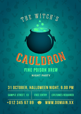 The Boiling and Glowing Witch Cauldron Vector Halloween Party Abstract Vintage Poster, Card or Flyer. Pumpkins, Cats and Candles Pattern Background and Retro Typography with Frame