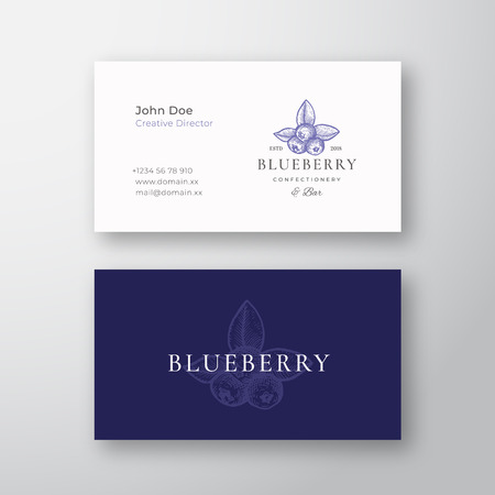 Blueberry Confectionary Abstract Elegant Vector Logo and Business Card Template. Hand Drawn Berries with Leafs. Premium Stationary Realistic Mock Up. Modern Typography and Soft Shadows. Isolated Çizim