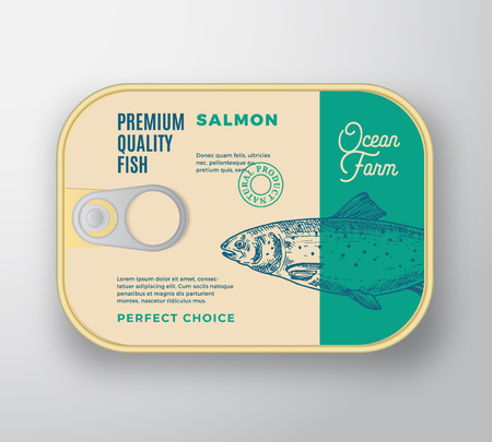 Abstract Vector Fish Aluminium Container with Label Cover. Retro Premium Canned Packaging Design. Modern Typography and Hand Drawn Salmon Silhouette Background Layout. Isolated.