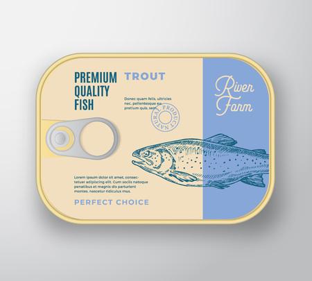 Abstrakter Vektor-Fisch-Aluminiumbehälter mit Aufkleberabdeckung. Retro-Premium-Konservenverpackungsdesign. Moderne Typografie und handgezeichnete Forellen-Silhouette-Hintergrund-Layout. Isoliert. Vektorgrafik