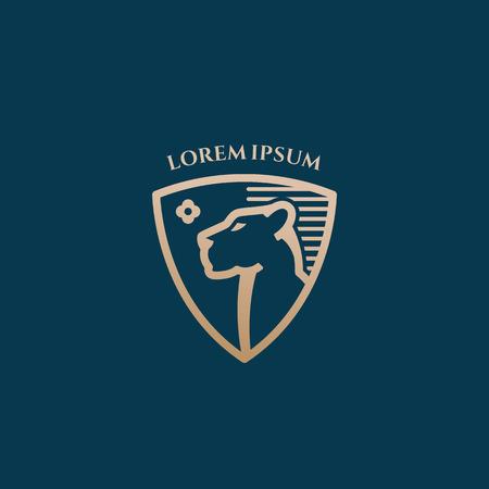 Cara de leona en un estilo de línea de escudo Signo de vector abstracto, símbolo o plantilla de logotipo. Escudo heráldico de color dorado premium. Fondo noble azul oscuro