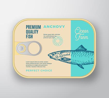 Abstrakter Vektor-Fisch-Aluminiumbehälter mit Aufkleber-Abdeckung. Retro-Premium-Konservenverpackungsdesign. Moderne Typografie und handgezeichnete Sardellen-Silhouette-Hintergrund-Layout. Isoliert. Vektorgrafik