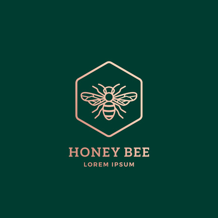 Premium Honey Bee Abstract Vector Sign, Symbol or Logo Template. Golden Bee Sillhouette with Retro Typography. Creative Insect Emblem. Illustration