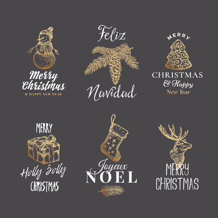 Merry Christmas and Happy New Year Abstract Vector Signs, Labels or Logo Templates Set. Hand Drawn Reindeer, Strobile, Snowman, Cookie, Gift Box and Sock Sketches with Retro Typography.