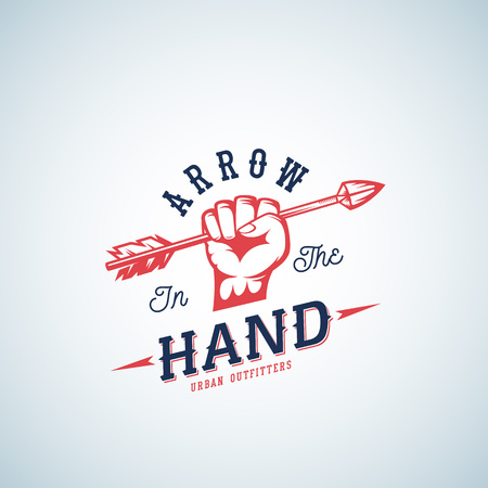 Arrow in the Hand Abstract Vector Logo Template. Red Fist Silhouette Symbol with Retro Typography. Illustration