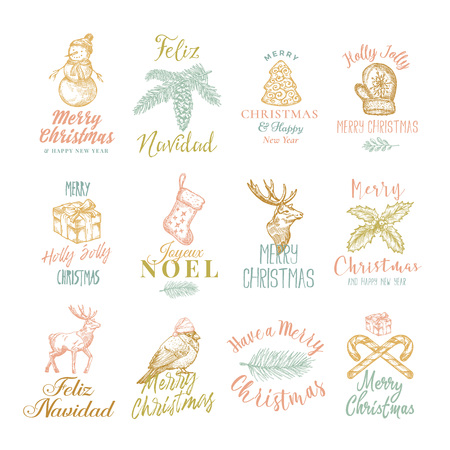 Merry Christmas and Happy New Year Abstract Vector Signs, Labels or Logo Templates Set. Hand Drawn Christmas Sketche Style Illustrations with Retro Typography.