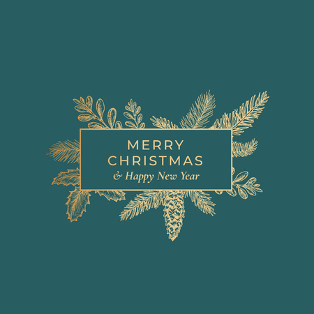 Carte botanique abstraite de Joyeux Noël avec la bannière de cadre de rectangle et la typographie moderne. Fond vert premium et mise en page de croquis de voeux dorés Vecteurs