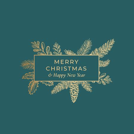 Tarjeta botánica abstracta de feliz Navidad con banner de marco rectangular y tipografía moderna. Fondo verde premium y diseño de boceto de saludo dorado Ilustración de vector