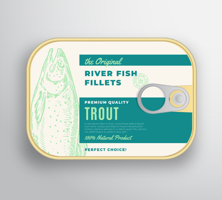 Abstract Vector River Fish Fillets Aluminium Container with Label Cover. Premium Canned Packaging Design. Retro Typography and Hand Drawn Trout Silhouette Background Layout. 向量圖像
