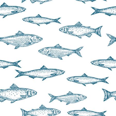Motif de fond sans couture de vecteur de poisson dessiné à la main. Carte de croquis d'anchois, de harengs et de saumons ou modèle de couverture de couleur bleue. Isolé.