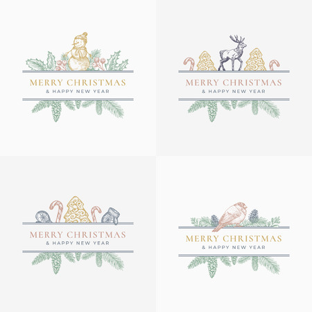 Merry Christmas Greeting Cards or Labels Set. Frame Banners with Vintage Typography and Hand Drawn Holiday Illustrations. Mistletoe, Reindeer, Candy Canes and Cookie Trees. Pastel Colors Layout.
