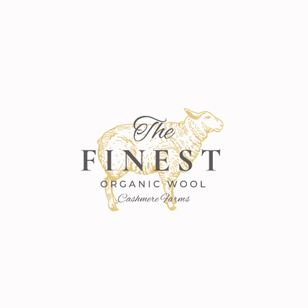 The Finest Wool. Abstract Vector Sign, Symbol or Logo Template. Hand Drawn Sheep Sketch Sillhouette with Retro Typography. Vintage Luxury Cashmere Vector Emblem. Illustration