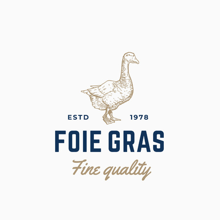 Goose Pate Foie Gras Abstract Vector Sign, Symbol or Logo Template. Hand Drawn Goose Sillhouette Sketch with Retro Typography. Vintage Vector Emblem.