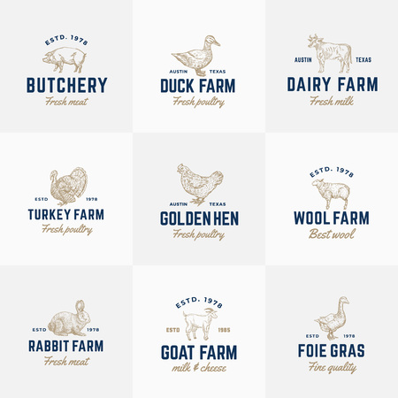 Domestic Animals and Poultry Retro Vector Logo Templates Set. Hand Drawn Vintage Cattle and Birds Sketches with Vintage Typography. Pig, Cow, Chicken, Rabbit, Turkey, etc. Isolated Labels Collection
