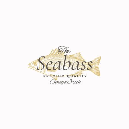 Il miglior segno di vettore astratto di branzino, simbolo o modello di logo. Elegante spigola pesce disegno schizzo con elegante tipografia retrò. Emblema di lusso d'epoca.